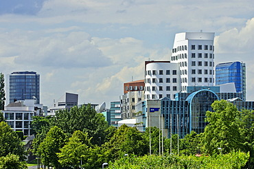 The WDR building and the Gehry buildings, Medienhafen district, Duesseldorf, North Rhine-Westphalia, Germany, Europe