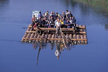 Floating trip rafting trip on river Isar Bavaria Germany