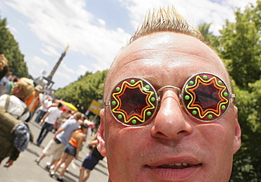Man with oddities glasses at the love parade in Berlin, Germany