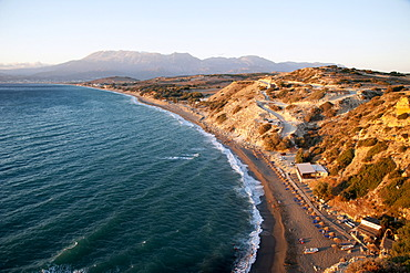 Komos beach in the evening light, Komo, near Pitsidia, southern Crete, Greece, Europe