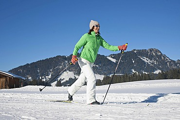 Cross-country skiing woman