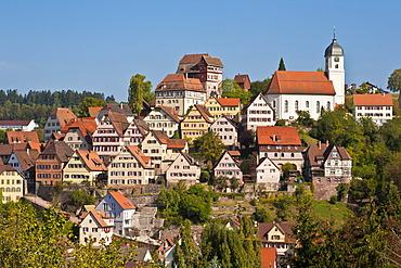 Historic town centre of Altensteig, Black Forest, Baden-Wuerttemberg, Germany, Europe