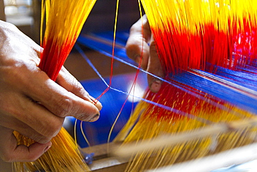Hand at the loom, the establishment of the loom takes a day, 2300 threads have to be pulled twice by hand through eyelets, Batpara, Shahazadpur Upazila, Sirajganj, Bangladesh, South Asia, Asia