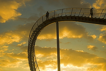 "Landmark ""Tiger & Turtle - Magic Mountain"" by Heike Mutter and Ulrich Genth, walkable sculpture in the shape of a roller coaster, on the Halde Heinrich-Hildebrand-Höhe heap, Angerpark, Duisburg, North Rhine-Westphalia, Germany, Europe, PublicGround"