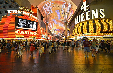 Neon dome of the Fremont Street Experience in old Las Vegas, Casino Hotel 4 Queens, Fremont Casino, Downtown Las Vegas, Nevada, United States of America, USA, PublicGround