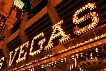 Lettering of the Vegas Club Casino Hotel, Fremont Street Experience in old Las Vegas, Downtown Las Vegas, Nevada, United States of America, USA, PublicGround