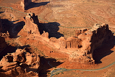 Aerial view, Park Avenue Trailhead and Viewpoint, Courthouse Tower, Courthouse Towers section, scenic road, Arches National Park, Moab, Utah, United States of America, USA