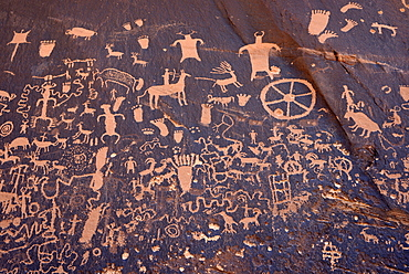 Petroglyphs carved into sandstone, representation of Fremont, Anasazi, Navajo and Anglo-Saxon cultures, prehistoric and historic rock art, Newspaper Rock State Historic Monument and Recreation Site, San Juan County, Utah, United States of America, USA