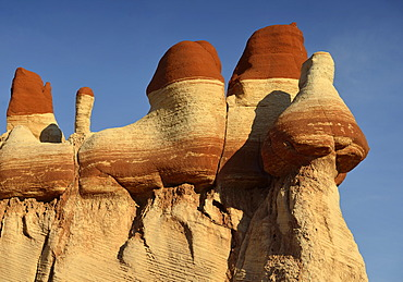 Eroded hoodoos and rock formations discolored by minerals, Blue Mosquito Canyon, Coal Mine Mesa, Painted Desert, Hopi Reservation, Navajo Nation Reservation, Arizona, Southwest, United States of America, USA