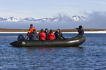 Tourists in Zodiac, Spitsbergen, Norway, Europe