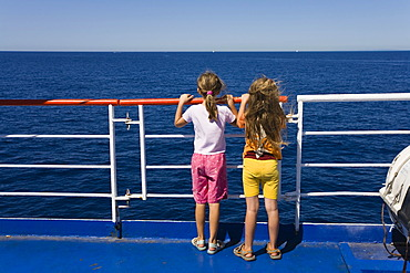 Children at a guardrail, ferryboat, Italy, Mediterranean, Europe
