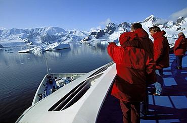 Tourists on cruise ship in Paradise Bay, Graham Land, Antarctic Peninsula, Antarctica