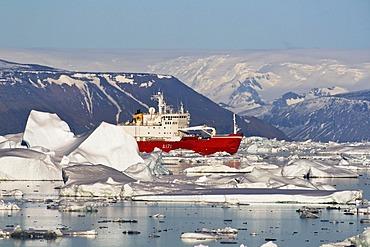 Icebreaker, research vessel, icebergs, Weddell Sea, Antarctica