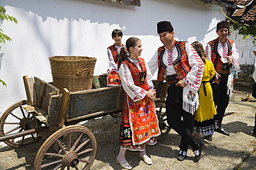Young people in traditional costumes, Rose Festival, roseoil museum in Karlovo, Bulgaria