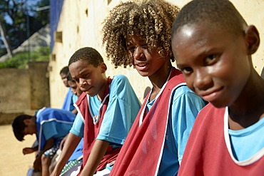 Soccer tournament on the football ground of the Guararape favela, Rio de Janeiro, Brazil, South America