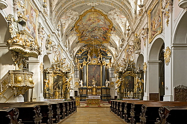 Benedictine monastery of St. Emmeram, St. Emmeram's Abbey, nave and high altar of the papal basilica with a baroque interior by the Asam brothers, Old Town of Regensburg, Upper Palatinate, Bavaria, Germany, Europe