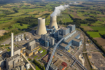 Aerial view, Westfalen RWE power plant, RWE Power coal-fired power station, next to the former THTR nuclear power plant, Hamm, Ruhr district, North Rhine-Westphalia, Germany, Europe