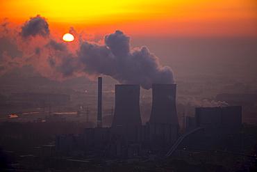 Westfalen coal-fired power plant of RWE Power in the sunrise, Hamm, Ruhr district, North Rhine-Westphalia, Germany, Europe