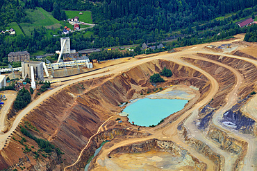 Sedimentation pool, sludge pond, open pit ore mining, Erzberg mountain at Eisenerz, Styria, Austria, Europe