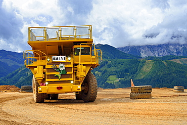 Heavy duty trucks, dump trucks, Hauly, Erzberg mountain at Eisenerz, Styria, Austria, Europe
