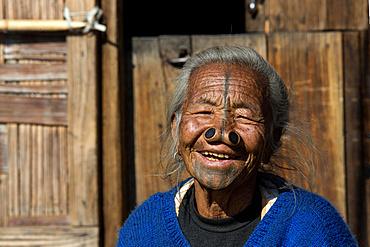 Woman of the Apatani people, with nose plugs, Hapoli, Arunachal Pradesh, India, Asia