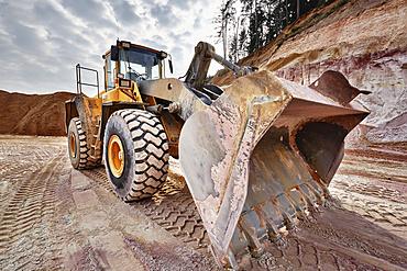 Shovel excavator in kaolin pit, mining of kaolin, Gebenbach, Bavaria, Germany, Europe