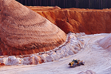 Excavator in kaolin pit, mining of kaolin, Gebenbach, Bavaria, Germany, Europe