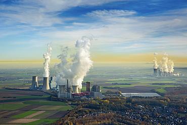Neurath Power Station BoA and 2u3 Neurath Power Station, Niederaussem Power Station behind, RWE Power, lignite power plant, Grevenbroich, Rhineland, North Rhine-Westphalia, Germany, Europe