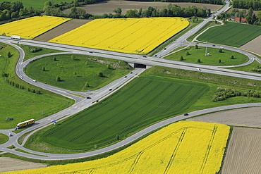 Aerial view, highway exit in agricultural landscape, A 94 motorway near Mühldorf, Upper Bavaria, Bavaria