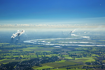 Aerial view, coal power plants on the Rhine, Lower Rhine, floodplains, Rhine bend at Beeckerwerth, Duisburg, Ruhr district, North Rhine-Westphalia, Germany, Europe