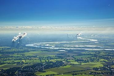 Aerial view, coal power plants on the Rhine, Lower Rhine, floodplains, Rhine bend at Beeckerwerth, Duisburg, Ruhr district, North Rhine-Westphalia, Germany, Europe