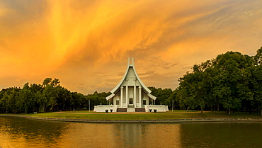 Uposatha at Wat Phra Dhammakaya temple at dawn, Khlong Luang District, Pathum Thani, Bangkok, Thailand,, Asia