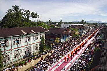 Buddhist monks in the Azarni Road, Bigboon Pilgrims' procession, Dhammakaya Foundation, aerial, Dawei, Tanintharyi Region, Myanmar, Asia