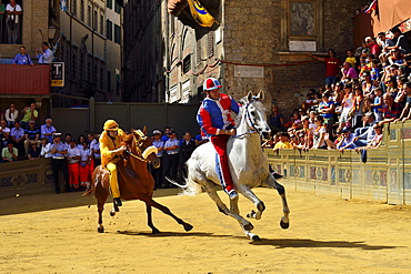 Training run of the historical horse race Palio di Siena, Piazza del Campo, Siena, Tuscany, Italy, Europe