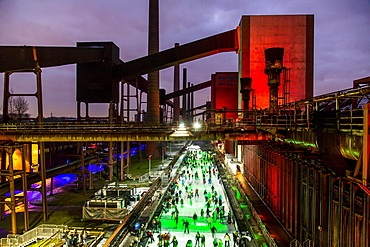 UNESCO World Heritage Site Zeche Zollverein, Kokerei Zollverein coking plant, skating rink, Essen, North Rhine-Westphalia, Germany, Europe