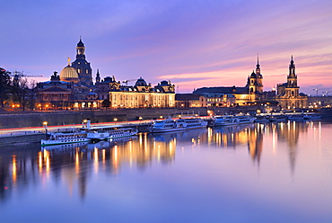 View of the city at sunset with Church of Our Lady, Hofkirche and Residenzschloss, Elbe, Old Town, Dresden, Saxony, Germany, Europe