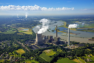Aerial view of Voerde am Rhein coal power plant, STEAG, fossil energy, Voerde, Ruhr, Lower Rhine, North Rhine-Westphalia, Germany, Europe