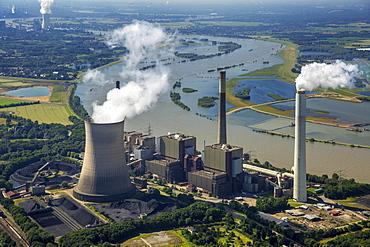 Aerial view of Voerde am Rhein coal power plant, STEAG, fossil energy, Voerde, Ruhr, Lower Rhine, North Rhine-Westphalia, Germany, Europe