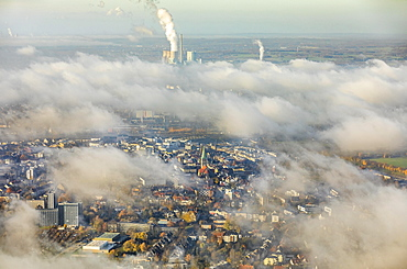 View of downtown Hamm through the low fog cover, Pauluskirche, new Lippe project Kanalkante, between Hamm-Lippewiesen airport and downtown Hamm, Datteln-Hamm Canal, Lippe, Hamm, Ruhr area, North Rhine-Westphalia, Germany, Europe