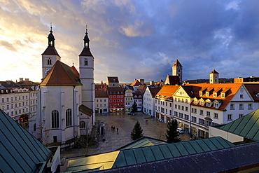 City view with Neupfarrkirche, Neupfarrplatz, Regensburg, Upper Palatinate, Bavaria, Germany, Europe
