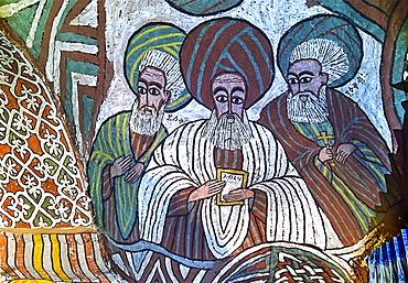 The Saints Isaac, Abraham and Jacob, fresco in the Orthodox rock church Abuna Yemata Guh, Gheralta region, Tigray, Ethiopia, Africa