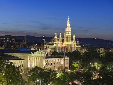 View of Parliament and City Hall at night, Vienna, Austria, Europe
