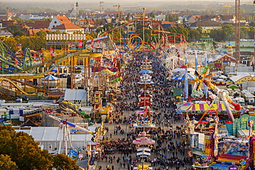 View over Schaustellerstrasse, Oktoberfest, Wiesn, Munich, Oberbayern, Bavaria, Germany, Europe