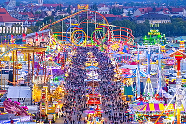 View over Schaustellerstrasse, Oktoberfest, Wiesn, Munich, Oberbayern, Bavaria, Germany, Europe