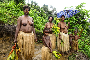 Native women at the Naghol ceremony in the village of Rangsuksuk, Island of Pentecost, Vanuatu, South Sea, Oceania