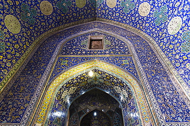 Inside Masjed-e Shah or Shah Mosque, Naqsh-e Jahan or Imam Square, Esfahan, Iran, Asia