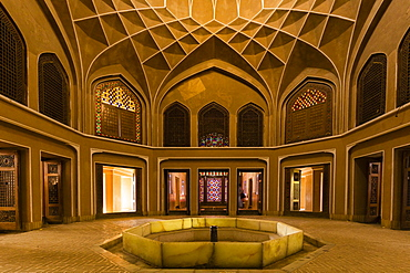 Pavilion inside the Bagh-e Dolat Abad or Dolat Abad Garden, with the highest Wind Tower of Iran at 33 meters, Yazd, Iran, Asia