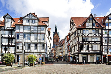 Half-timbered houses at Holzmarkt in the Old Town, Hanover, Lower Saxony, Germany, Europe