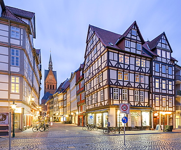 Half-timbered houses on Holzmarkt, Old Town, at dusk, Hannover, Lower Saxony, Germany, Europe
