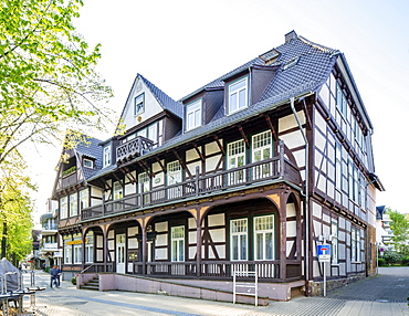 Half-timbered house from 1677, built as a lodging house in the style of the Weser Renaissance, nickname Alter Fritz, Bad Pyrmont, Lower Saxony, Germany, Europe